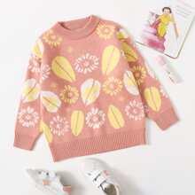 Toddler Girls Plants Print Crew Neck Sweater