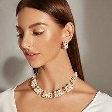 3 piezas collar grabado con diamante de imitacion con perla artificial con pendientes