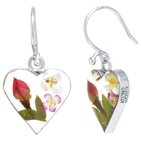Everlasting Flower Real Pressed Flowers Sterling Silver Heart Drop Earrings, One Size , No Color Family
