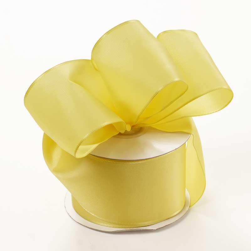 Grosgrain 2-1/2 X 25 Yards Light Yellow Trevia Taffeta Wired Ribbon by Ribbons.com