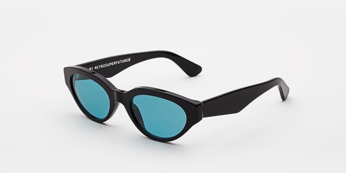 Retrosuperfuture Drew Black Turquoise I4PC 4D7 Women's Sunglasses Black Size 53