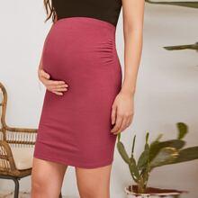 Maternidad falda ajustada unicolor tejida de canale