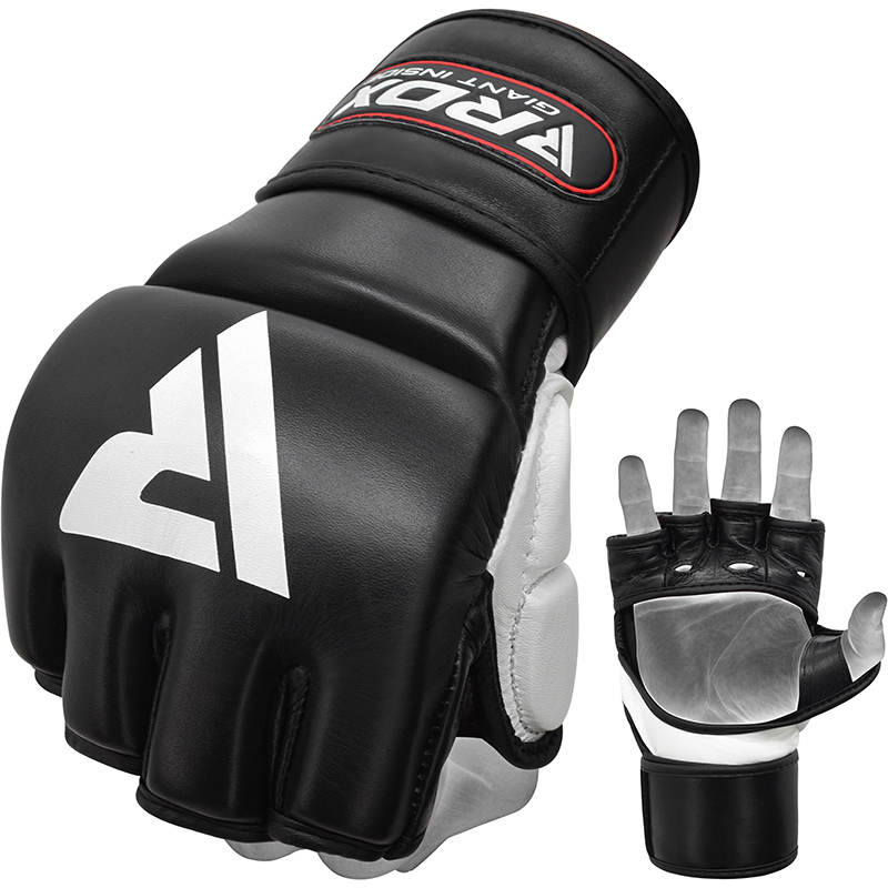 RDX T1 Leather MMA Grappling Training Gloves Open Palm Gel Padded