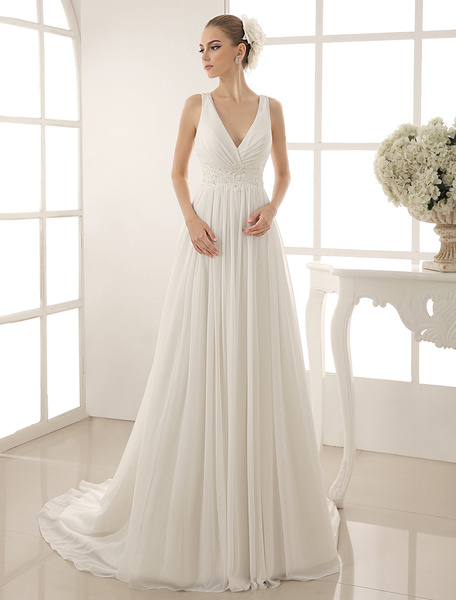 Milanoo Beaded V-Neck Wedding Gown With Sheath