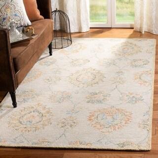 Safavieh Handmade Blossom Tempie Modern Floral Wool Rug (5' x 8' - Beige/Sage)