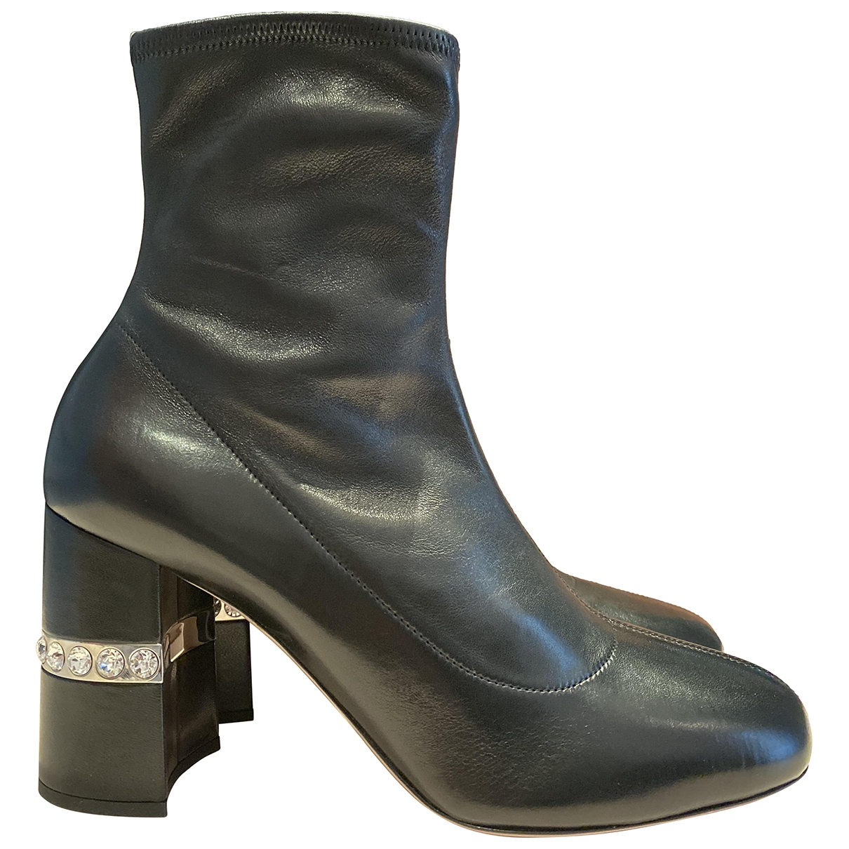 Miu Miu \N Black Leather Ankle boots for Women 38 IT
