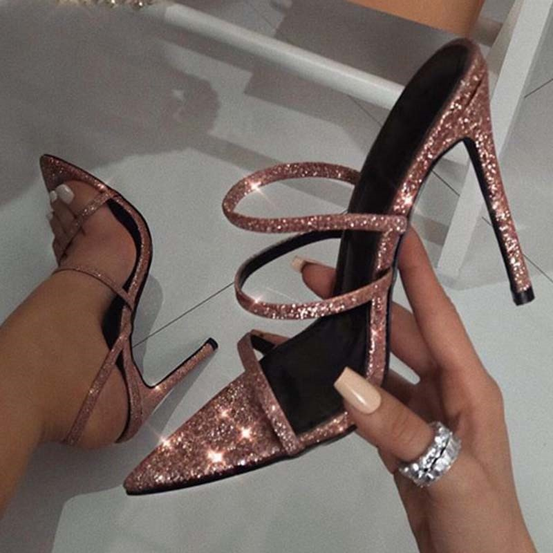 Ericdress Sequin Strappy Slip-On Stiletto Heel Women's Sandals