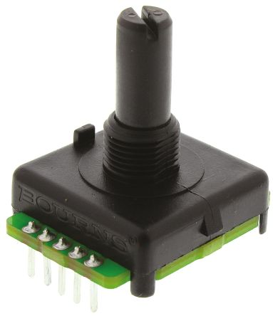 Bourns 128 Pulse Absolute Mechanical Rotary Encoder with a 6.35 mm Plain with Slot Shaft (Not Indexed), Bracket Mount