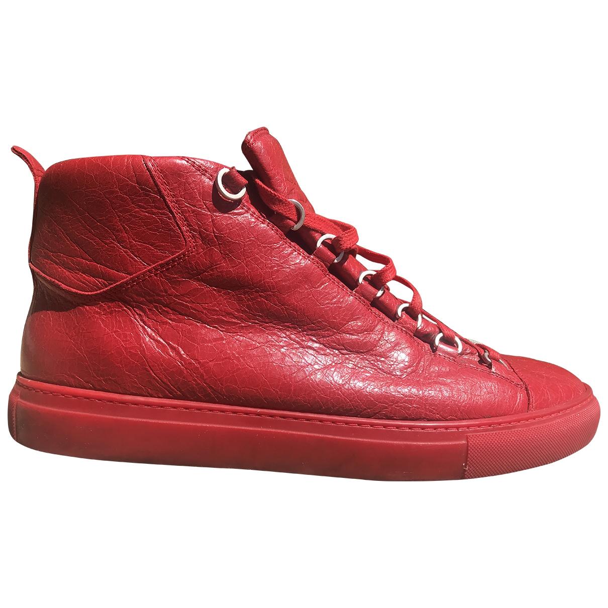 Balenciaga - Baskets Arena pour homme en cuir - rouge