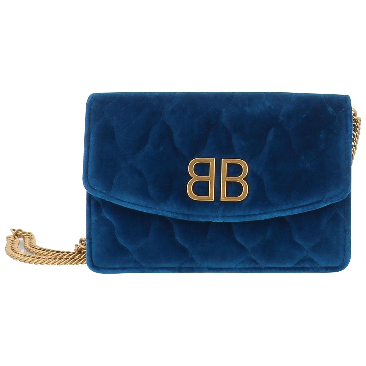 Balenciaga - Sac a main   pour femme en velours - bleu