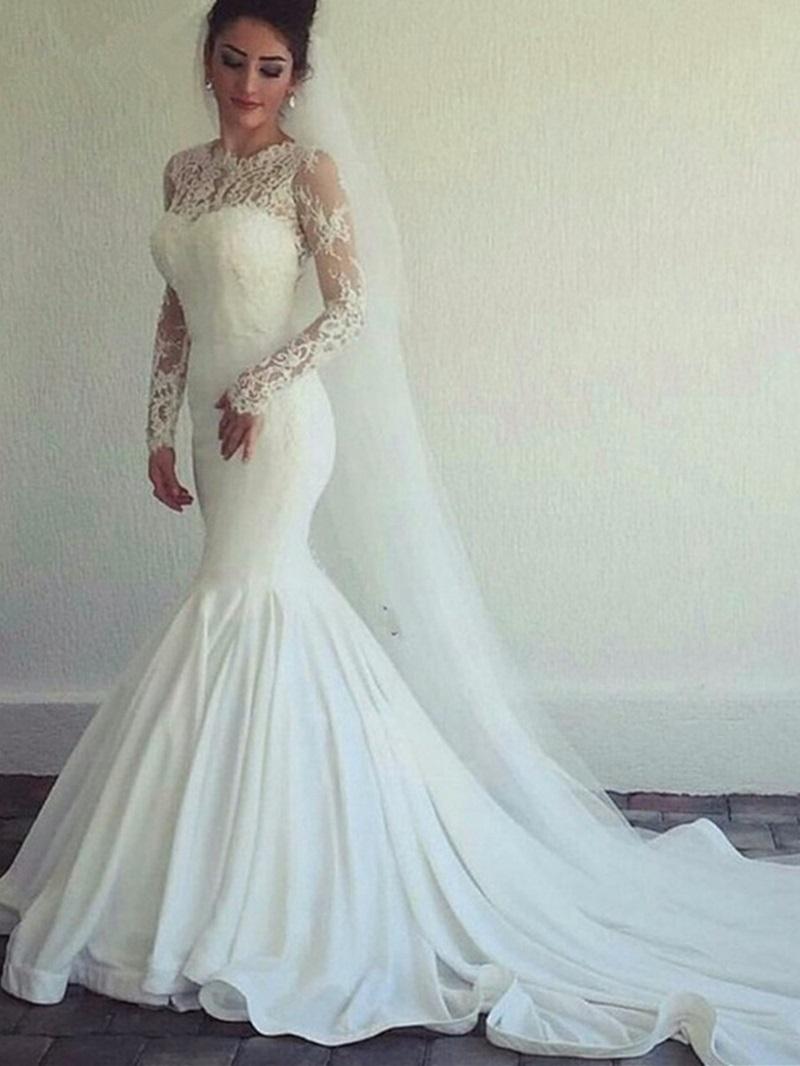 Ericdress Jewel Neck Long Sleeves Mermaid Lace Wedding Dress