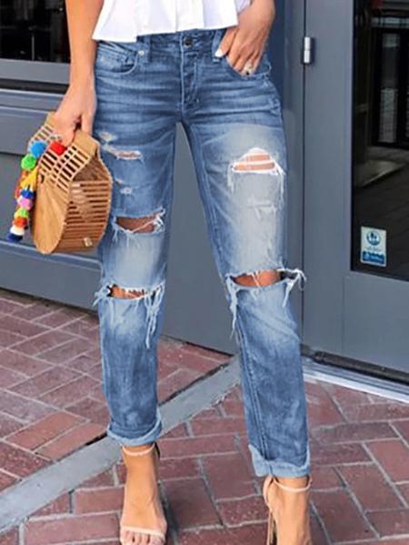Yoins Side Pockets Tassel Hem Middle Waisted Jeans