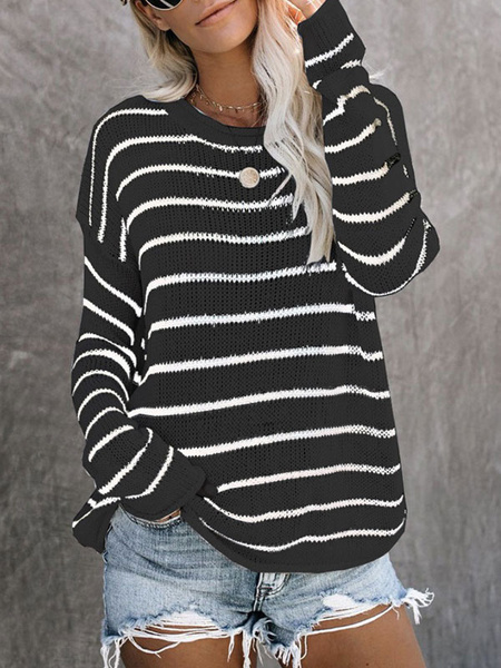 Milanoo Women Pullover Sweater White Stripes Jewel Neck Long Sleeves Acrylic Sweaters