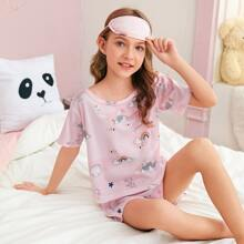 3pcs Girls Cartoon Graphic PJ Set & Eye Cover