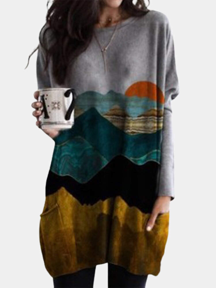 Casual Landscape Printed Double Pockets Loose Shirt For Women
