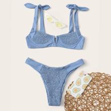 Smocked V Wired Underwire Thong Bikini Swimsuit