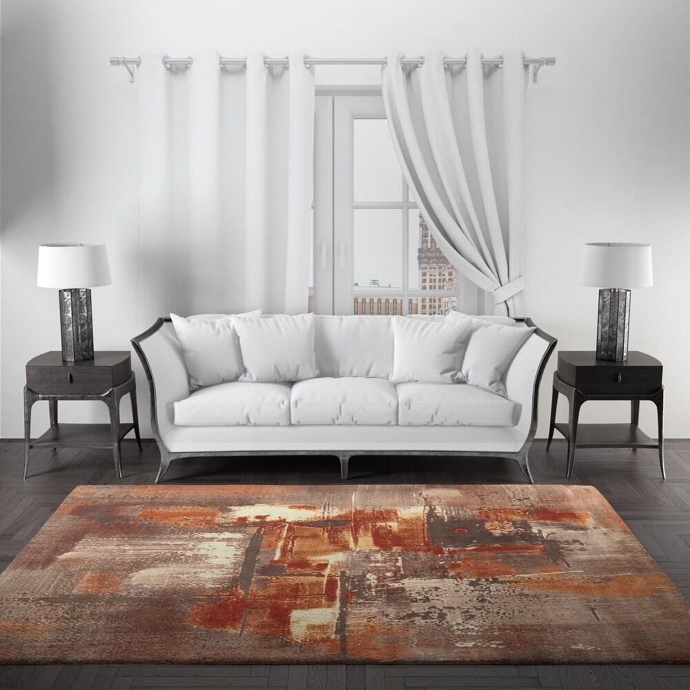 Eros Collection Abstract Grey/Orange Area Rug (8' Runner)