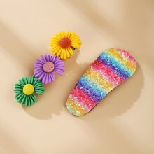 2pcs Floral & Rainbow Hair Clip