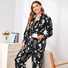 Plus Floral Print Self Tie Pajama Set