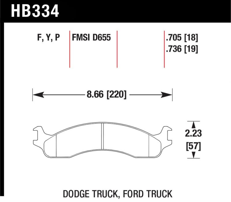 Hawk Performance HB334P.736 Disc Brake Pad Ford Front