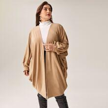 Plus Open Front Batwing Sleeve Coat