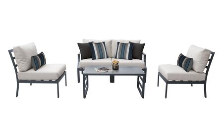 Lexington LEXINGTON-05d-BEIGE 5-Piece Aluminum Patio Set 05d with1  Left Arm Chair 1  Right Arm Chair  2 Armless Chairs and 1 Coffee Table - Ash and