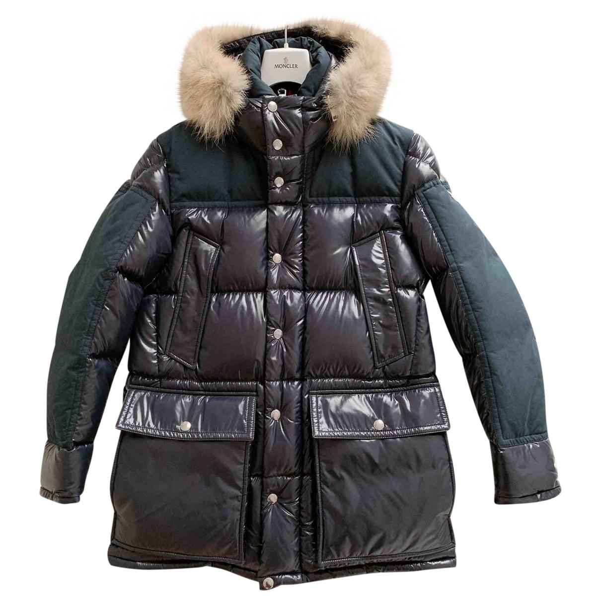 Moncler Fur Hood Maentel in  Marine Polyester