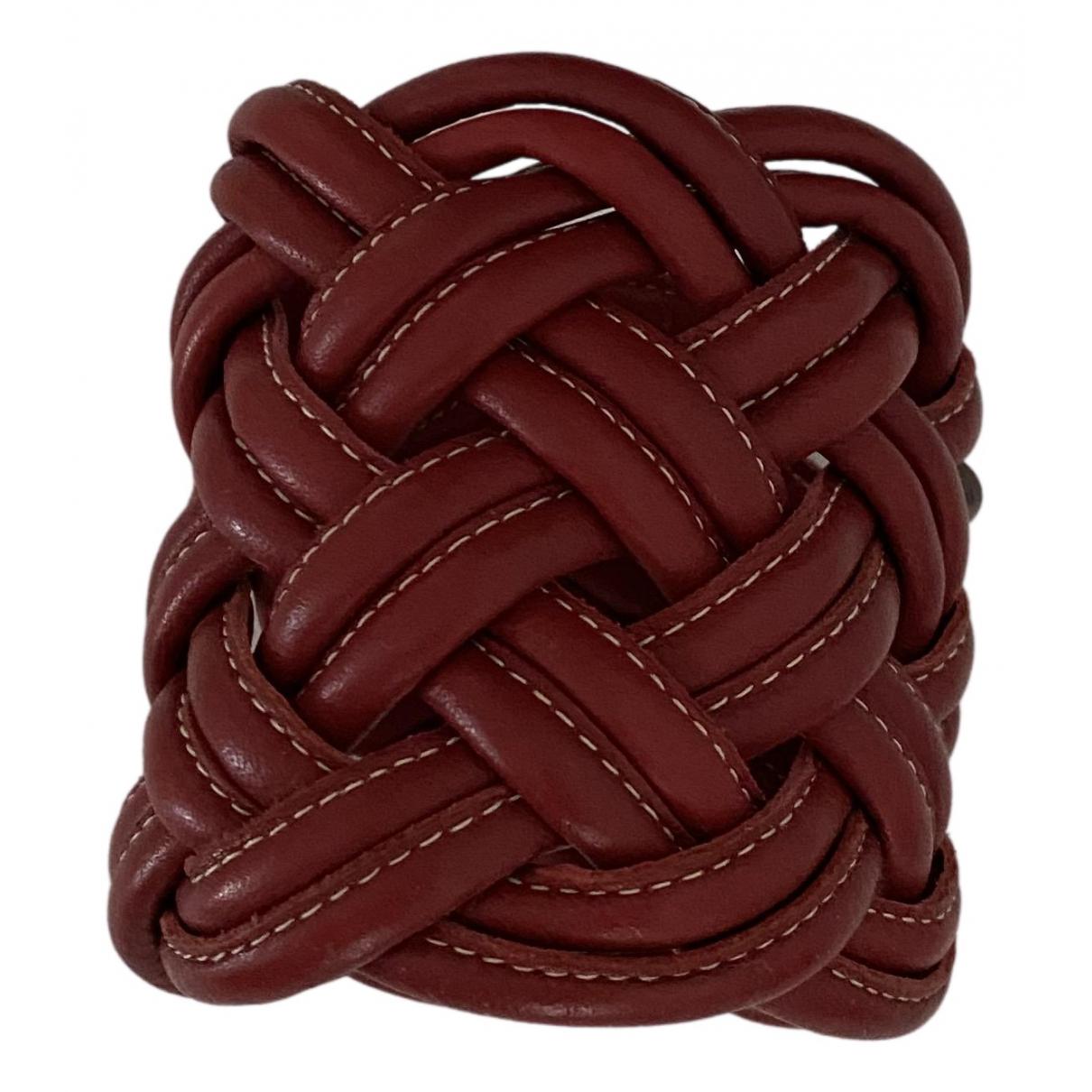 - Bracelet Manchette pour femme en cuir - rouge
