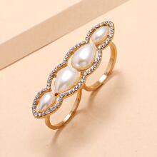 Faux Pearl & Rhinestone Decor Ring