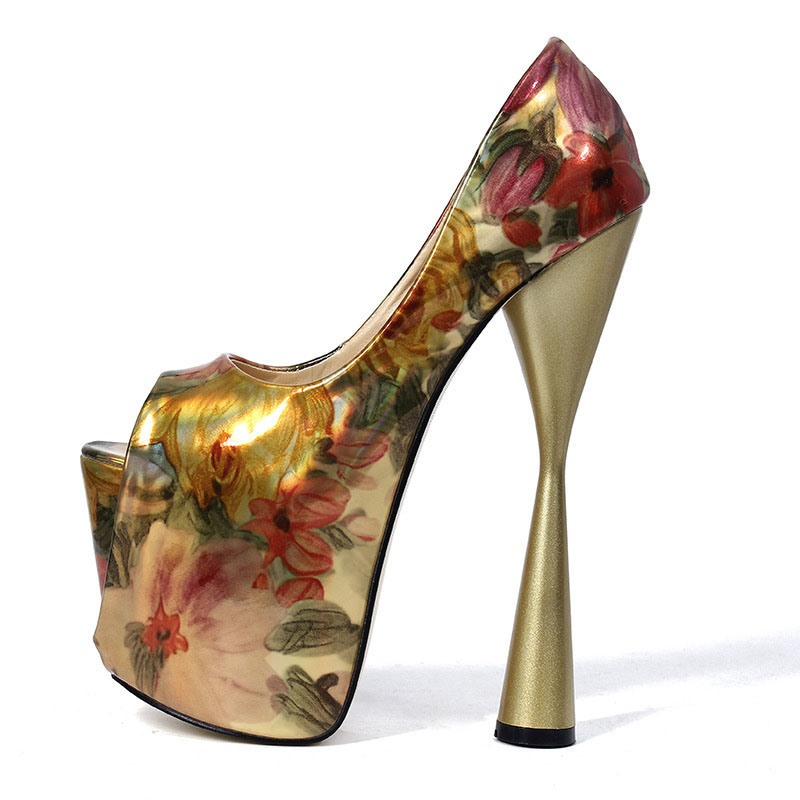 Ericdress Floral Color Block Peep Toe Slip-On Women's Prom Shoes