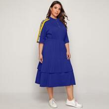 Plus Zip Half Placket Slogan Graphic Raglan Sleeve Dress