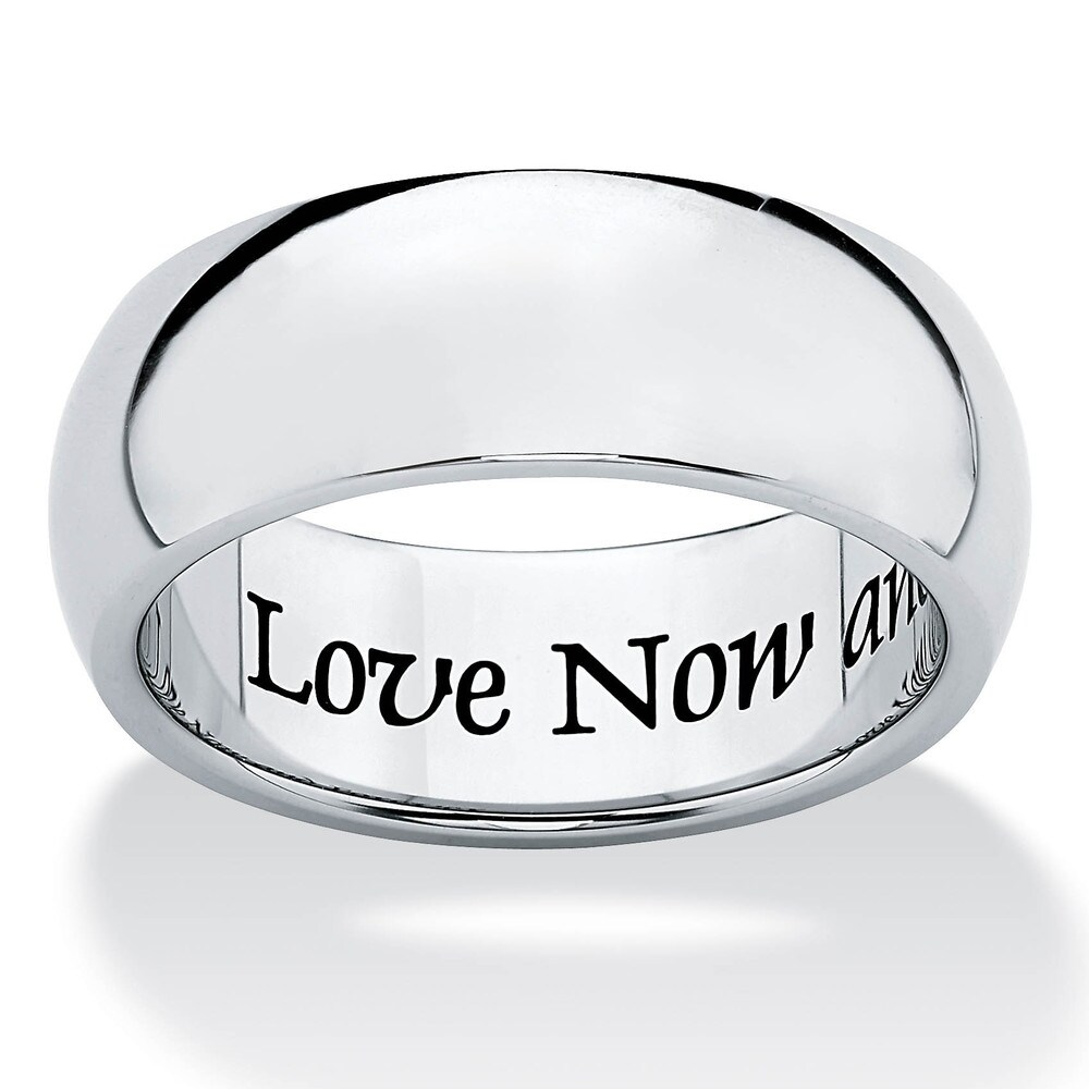 Stainless Steel Inspirational Message Wedding Band Ring 7mm Tailored (Men's - 11)