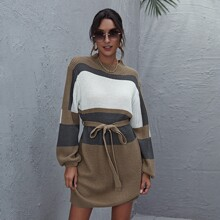 Color Block Belted Sweater Dress
