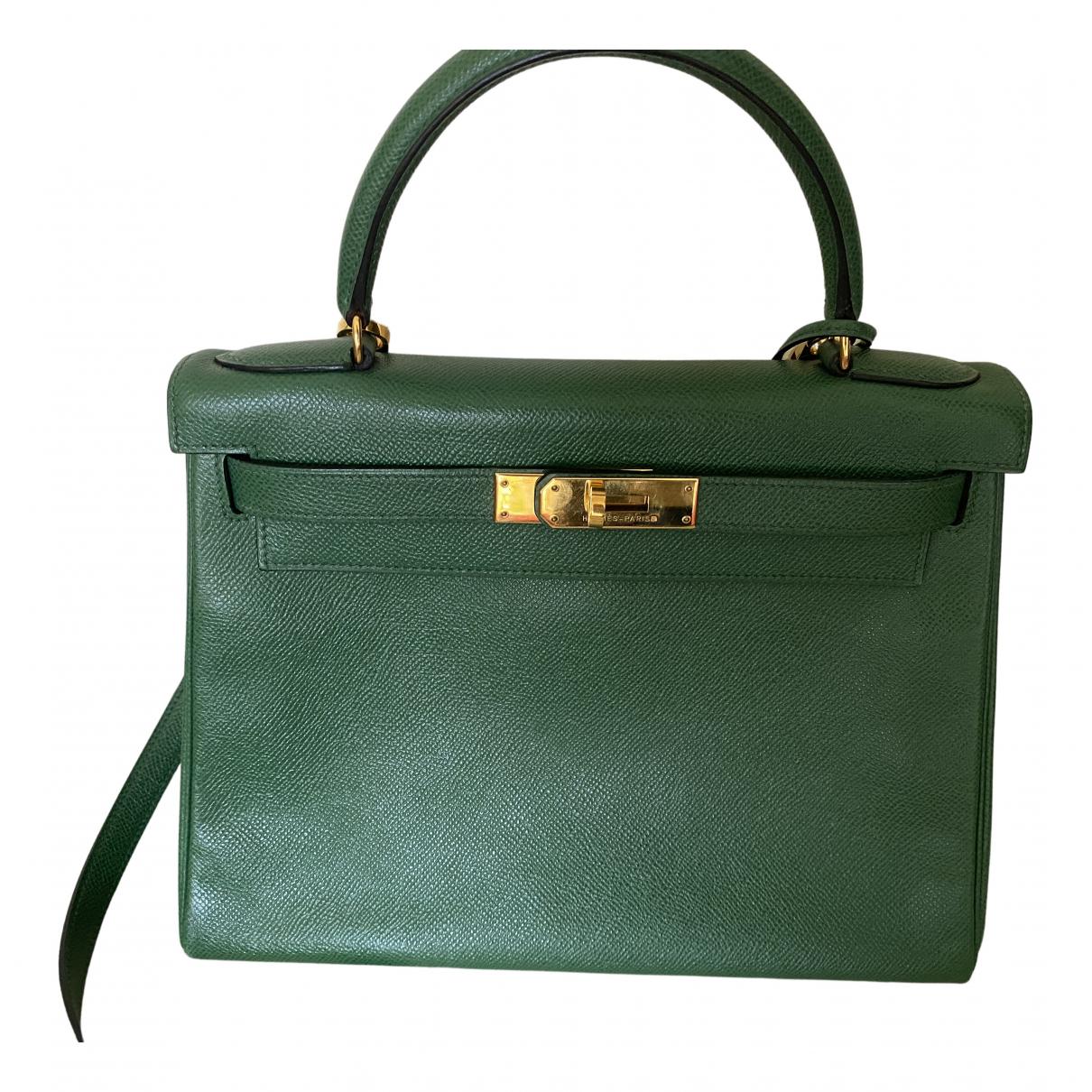 Hermes - Sac a main Kelly 28 pour femme en cuir - vert