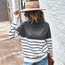 Striped Ribbed Knit Turtle Neck Sweater