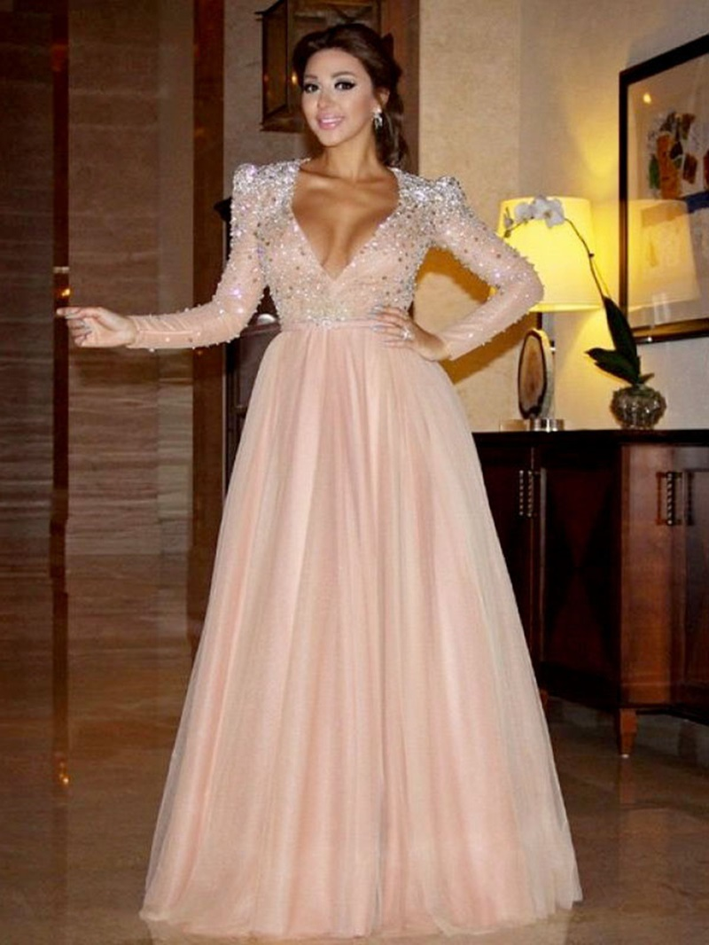 Ericdress Beading Sequins Long Sleeves Evening Dress