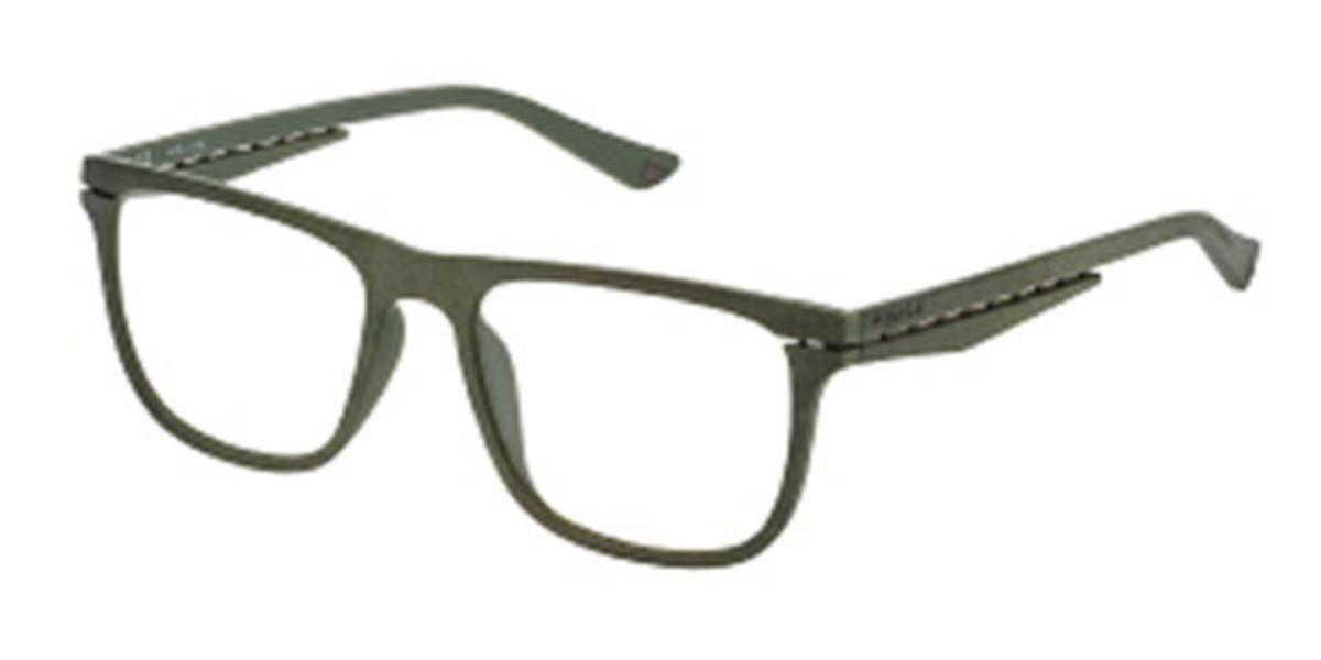 Police VPL485 ORBIT 1 0GGP Men's Glasses Green Size 53 - Free Lenses - HSA/FSA Insurance - Blue Light Block Available