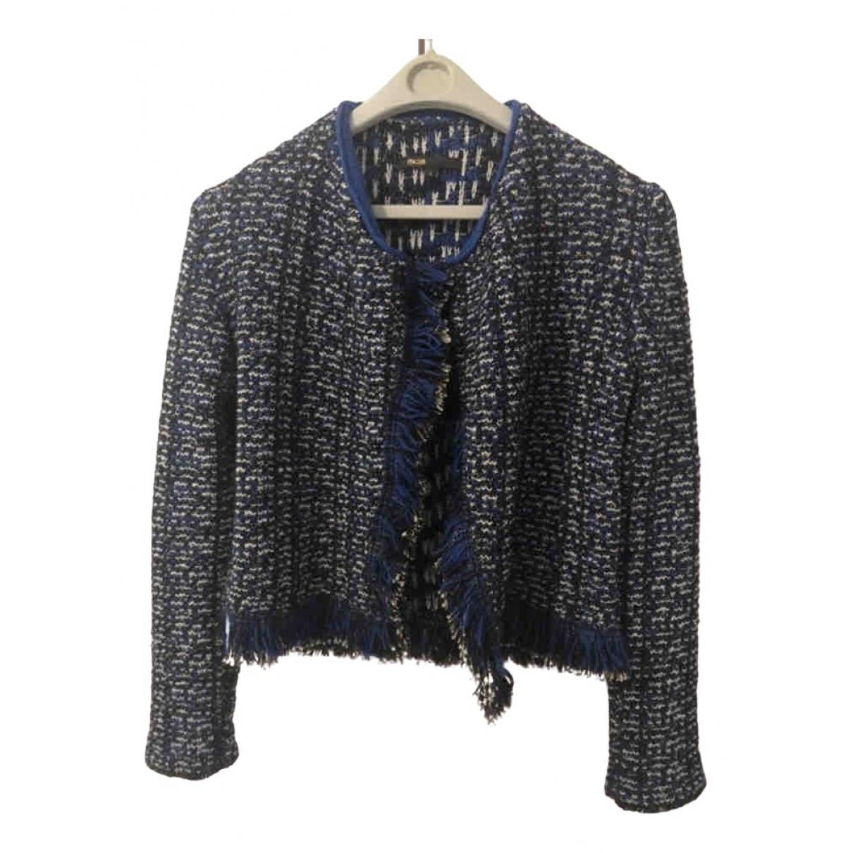 Maje N Blue Cotton jacket for Women 40 FR
