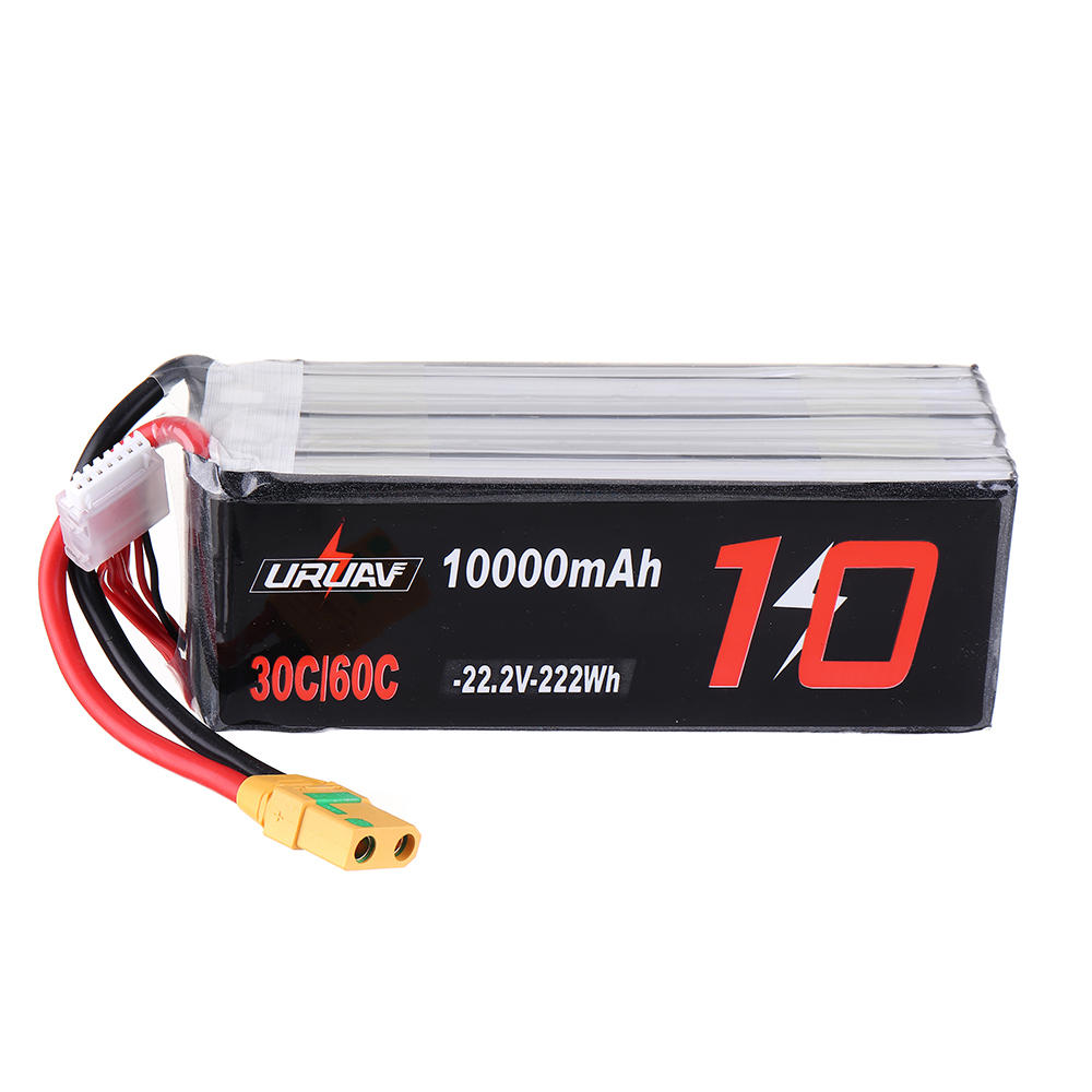 URUAV 22.2V 10000mAh 30/60C 6S Lipo Battery XT90 Plug for FPV RC Quadcopter Agriculture Drone Outdoor Charger Power