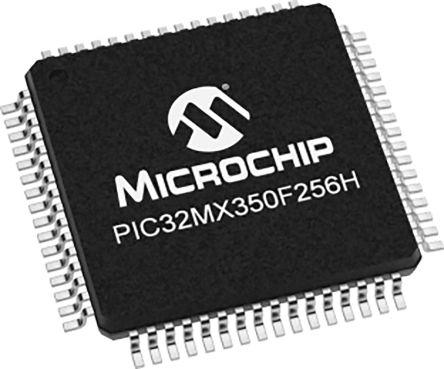 Microchip PIC32MX350F256H-I/PT, 32bit MIPS32 Microcontroller, PIC32, 100MHz, 128 kB Flash, 64-Pin TQFP (160)