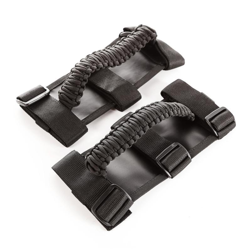 Rugged Ridge 13505.3 Grab Handle Kit, Paracord, Black/Black; 55-19 Jeep CJ/Wrangler/Gladiator Jeep
