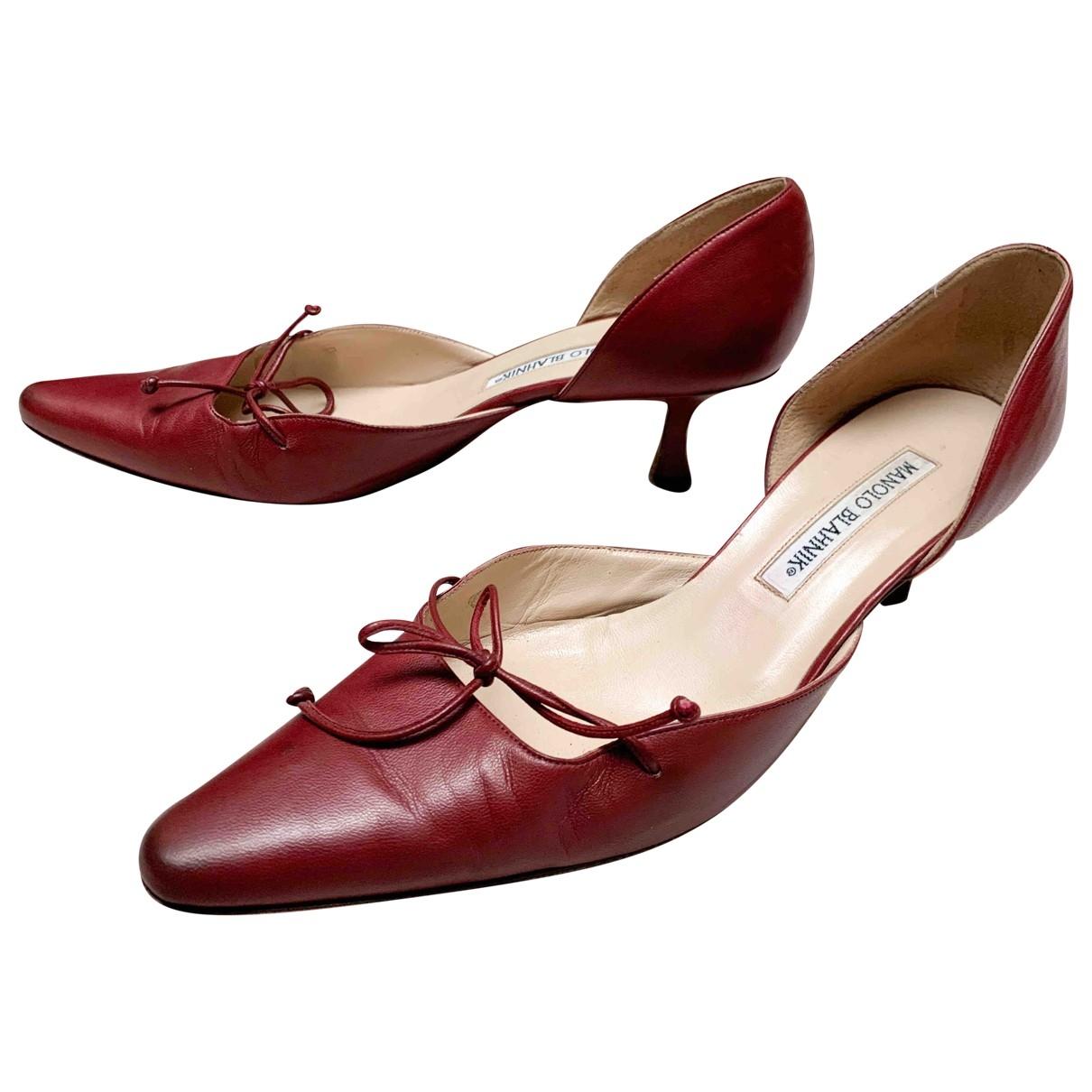 Manolo Blahnik \N Burgundy Leather Heels for Women 39 EU