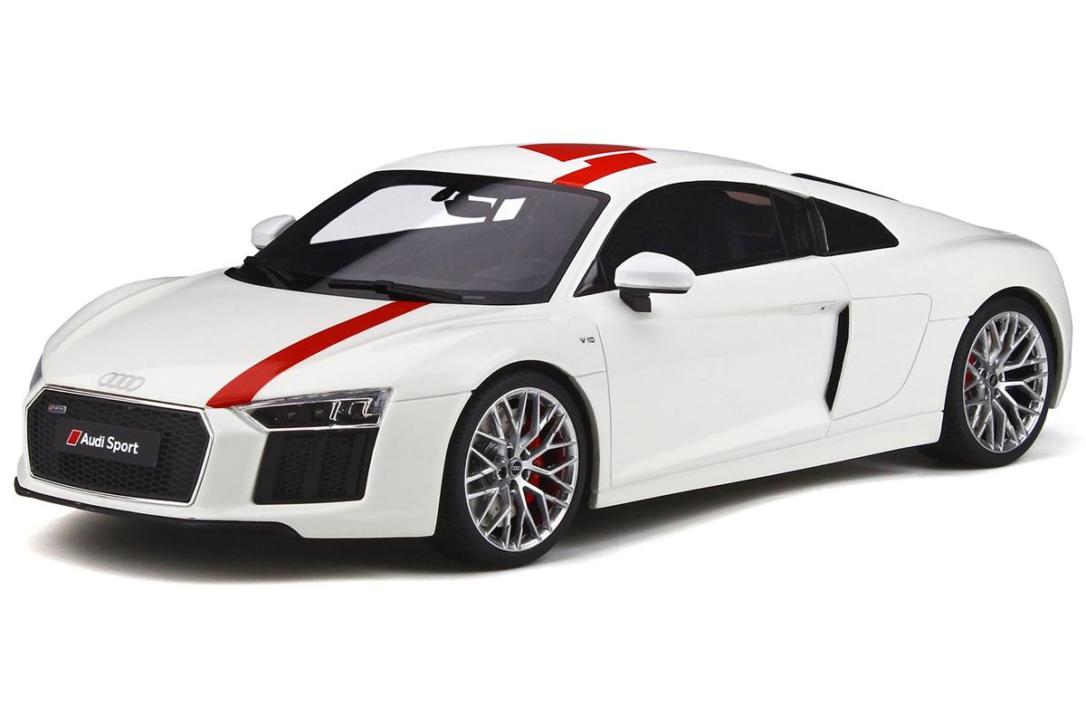 Audi R8 V10 RWS TBC White and Red 1/18 Model Car by GT Spirit