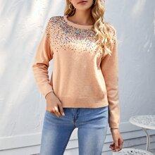 Raglan Sleeve Sequin Detail Sweater