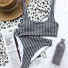 Striped High Waisted Bikini Swimsuit
