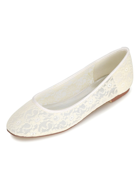 Milanoo Zapatos de novia de encaje 0.5cm Zapatos de Fiesta Zapatos Marfil Plana Zapatos de boda de puntera redonda