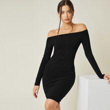 Solid Off Shoulder Bodycon Dress