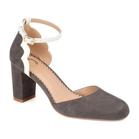 Journee Collection Womens Chandra Pumps Block Heel, 8 Medium, Gray