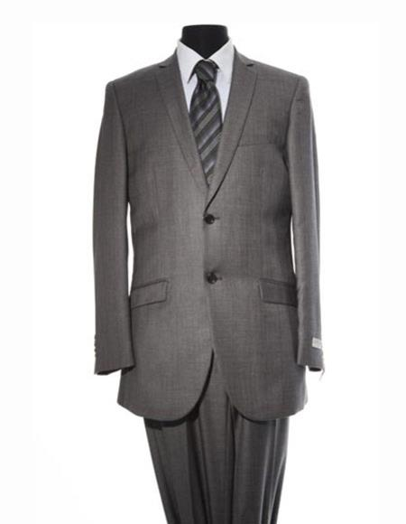 Men's 2 Button Gray Single Breasted Center Vent Suit