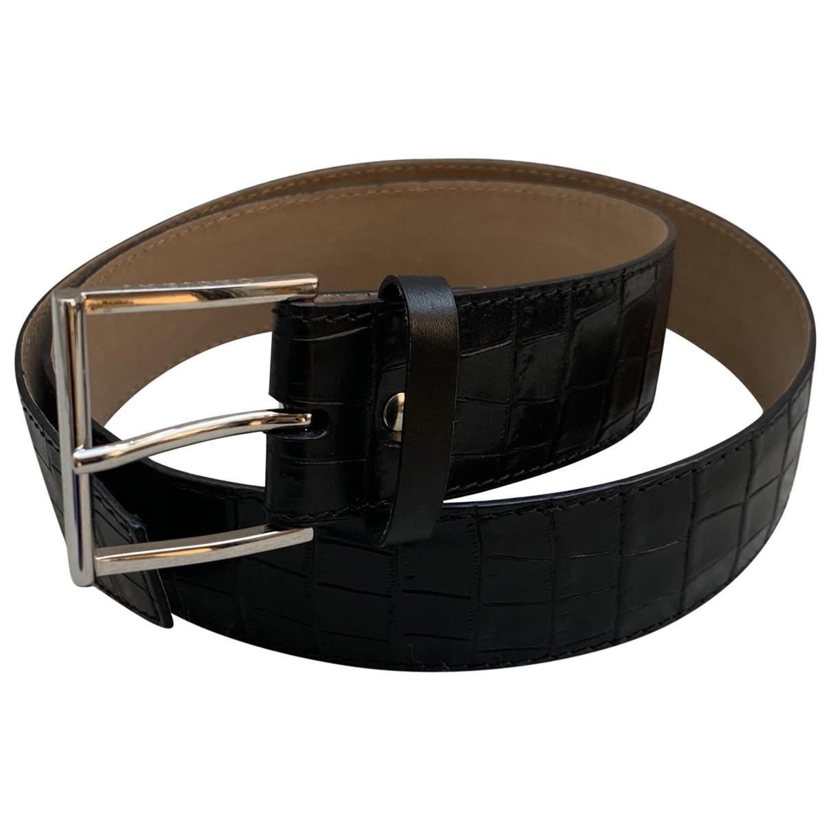 Orciani \N Guertel in  Schwarz Leder